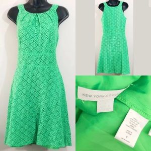New York & Co Kelly green eyelet sleeveless dress